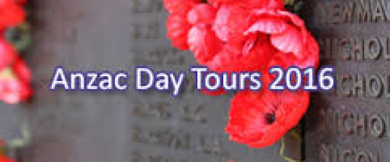 3 days Anzac 2018 Tours departure on the 24th