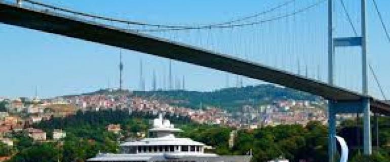 Dolmabahce y el Bosforo con el yate privado